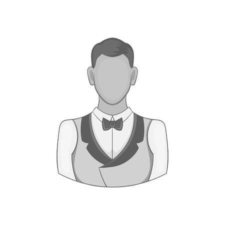 Casino croupier icon in black monochrome style on a white background vector illustration Illustration
