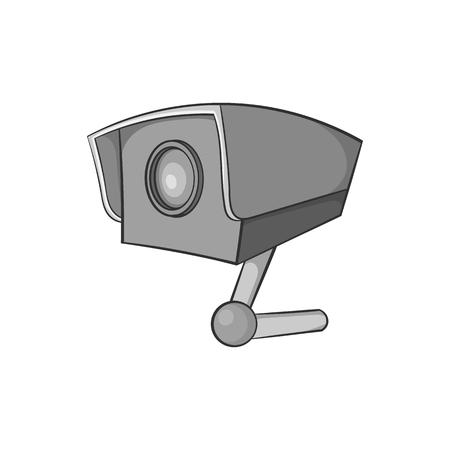 crime prevention: Surveillance camera icon in black monochrome style on a white background vector illustration Illustration