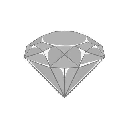 diamante negro: icono de diamante en estilo monocromático negro sobre un fondo blanco ilustración vectorial