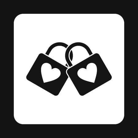 Deux écluses d'amants icône dans un style simple isolé sur fond blanc. Amour symbole vecteur illustration Vecteurs