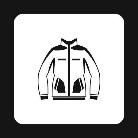 winter jacket: Mens winter jacket icon in simple style isolated on white background. Clothing symbol vector illustration Illustration