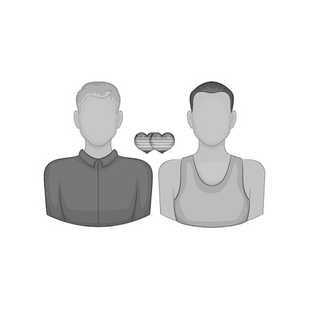 Gay couple icon in black monochrome style on a white background vector illustration