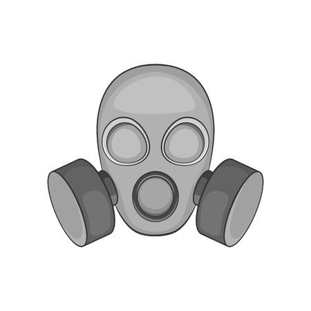 riesgo biologico: icono de máscara de gas en el estilo monocromático negro sobre un fondo blanco ilustración vectorial