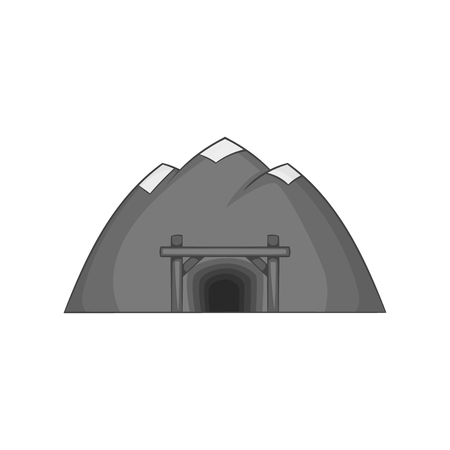 mine site: Mountain mine icon in black monochrome style on a white background vector illustration