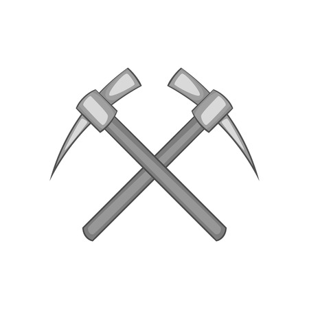 mattock: Two crosse picks icon in black monochrome style on a white background vector illustration Illustration