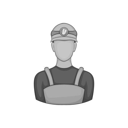 coal miner: Coal miner icon in black monochrome style on a white background vector illustration