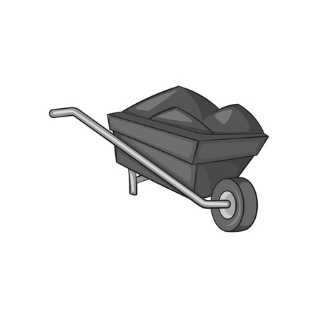 Wheelbarrow icon in black monochrome style on a white background vector illustration
