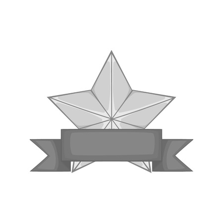 star award: Star award with ribbon icon in black monochrome style on a white background vector illustration