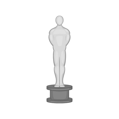 statuette: Oscar icon in black monochrome style on a white background vector illustration