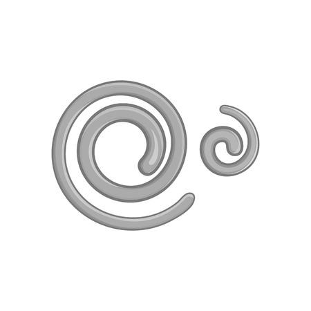 ascaris: Parasitic nematode worms icon in black monochrome style on a white background vector illustration
