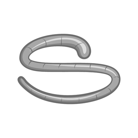 ascaris: Roundworm icon in black monochrome style on a white background vector illustration