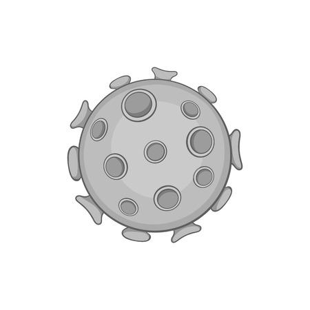 alergenos: icono de virus en estilo monocromático negro sobre un fondo blanco ilustración vectorial