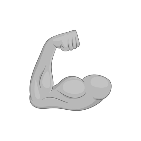 defined: Muscular arm icon in black monochrome style isolated on white background vector illustration Illustration