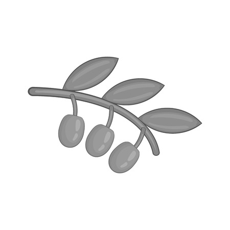 Sprig of olive icon in black monochrome style isolated on white background. Plant symbol vector illustration