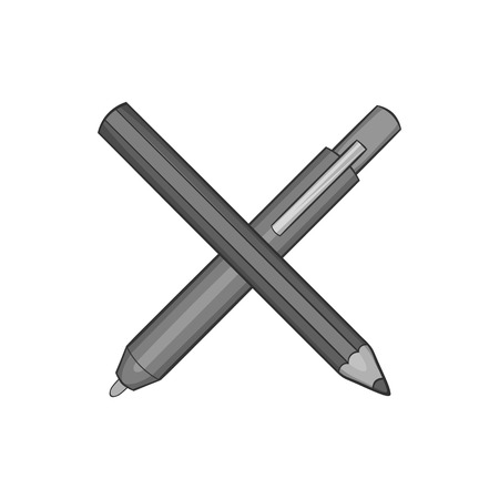 Pencil and pen icon in black monochrome style isolated on white background. Write symbol vector illustration Illustration