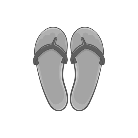 Flips flops icon in black monochrome style isolated on white background. Summer shoes symbol vector illustration