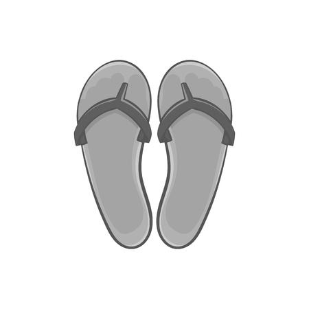 sandalias: Flips flips icono en el estilo negro monocromo aislado sobre fondo blanco. Zapatos de verano símbolo ilustración vectorial
