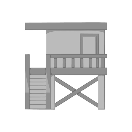 life guard stand: Rescue booth on the beach icon in black monochrome style isolated on white background. Observation symbol vector illustration Illustration