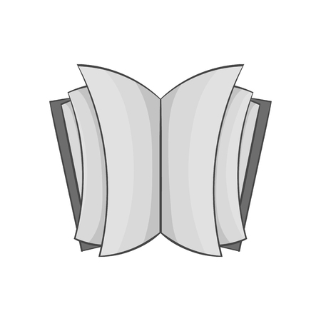 thick: Open thick book icon in black monochrome style isolated on white background. Reading symbol vector illustration Illustration