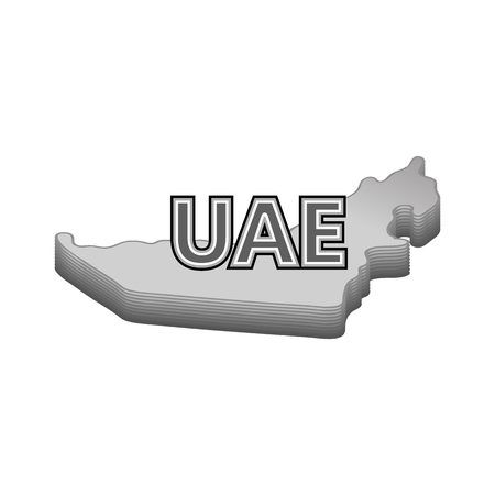 geography: Map of UAE icon in black monochrome style isolated on white background. Geography symbol vector illustration Illustration