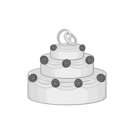 wedding reception decoration: Wedding cake icon in black monochrome style on a white background vector illustration
