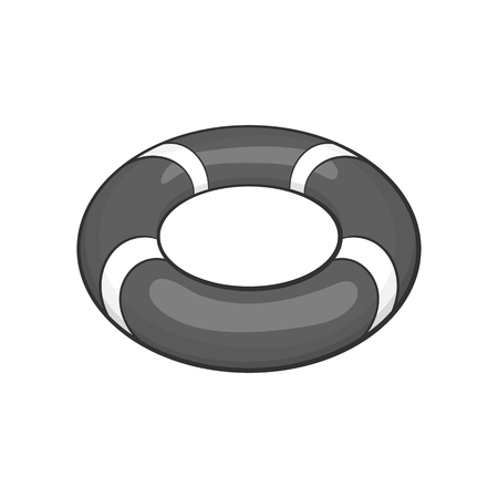 Lifebuoy icon in black monochrome style on a white background vector illustration Illustration