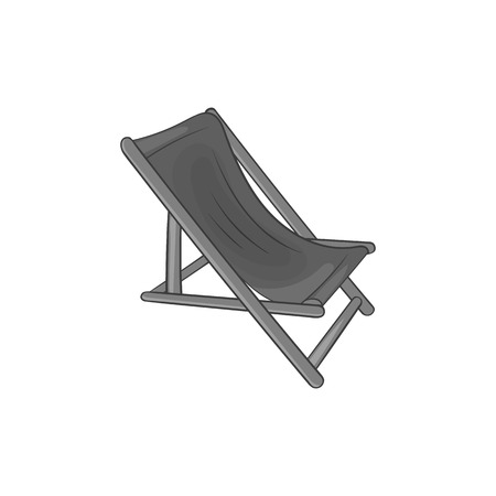 흰색 배경 벡터 일러스트 레이 션에 검은 단색 스타일의 해변 chaise 아이콘 일러스트