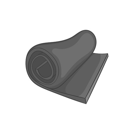 rolled up: Rolled up tourist mat icon in black monochrome style on a white background vector illustration