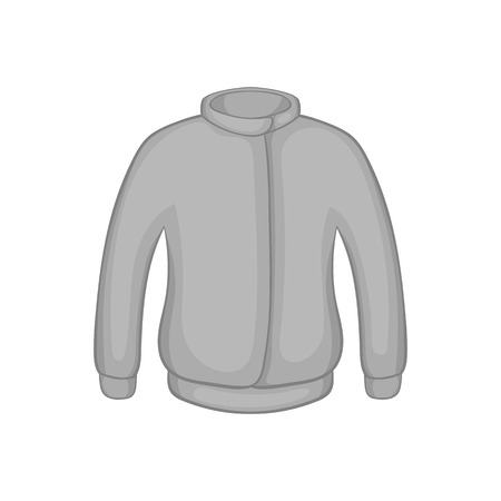 zipper hoodie: Jacket icon in black monochrome style on a white background vector illustration Illustration