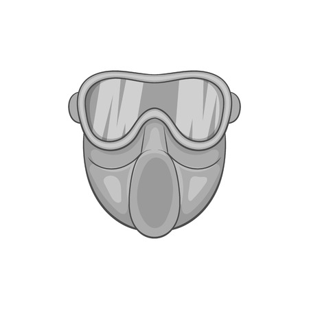 Paintball mask icon in black monochrome style on a white background vector illustration Illustration