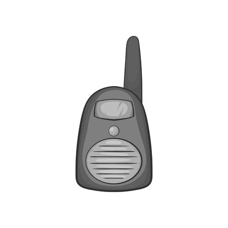 simplex: Portable handheld radio icon in black monochrome style on a white background vector illustration