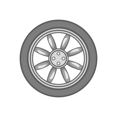traction: Car wheel icon in black monochrome style isolated on white background. Spare parts symbol vector illustration