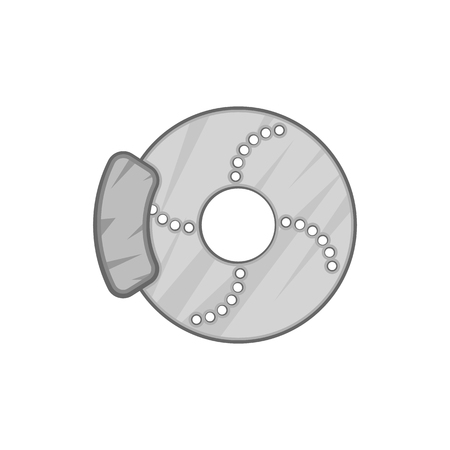 brake disc: Disc brake car icon in black monochrome style isolated on white background. Mechanism symbol vector illustration