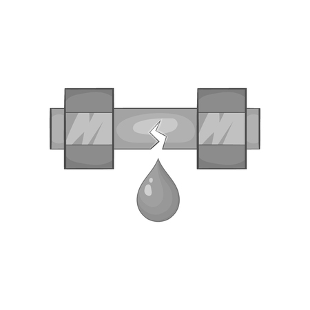 sewage system: Breakthrough water pipe icon in black monochrome style isolated on white background. Plumbing symbol vector illustration