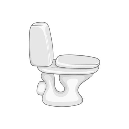 sanitary: Toilet bowl icon in black monochrome style isolated on white background. Sanitary symbol vector illustration