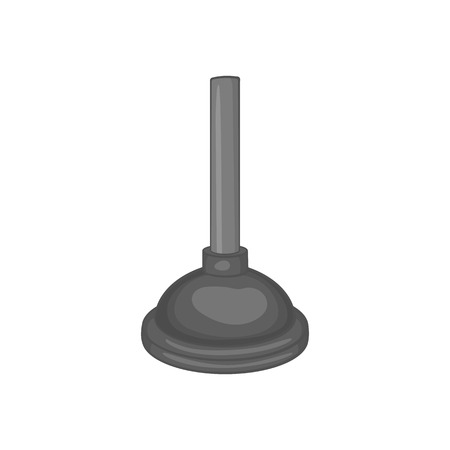 unblock: Plunger icon in black monochrome style isolated on white background. Cleaning symbol vector illustration