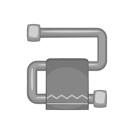 heated: Heated towel rail icon in black monochrome style isolated on white background. Drying symbol vector illustration