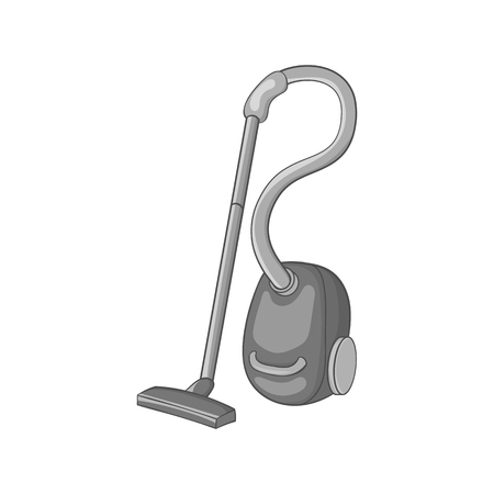 Vacuum cleaner icon in black monochrome style isolated on white background. Cleaning symbol vector illustration Illustration