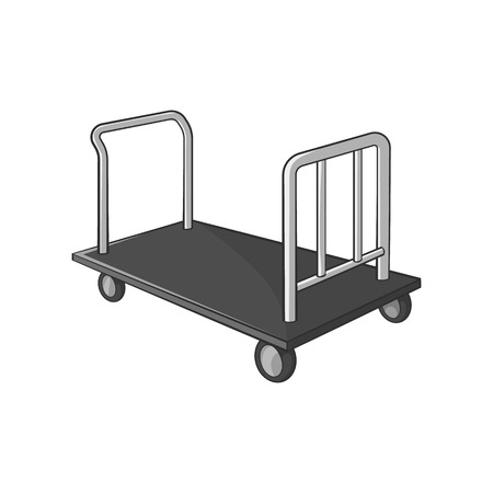 passenger compartment: Truck for luggage icon in black monochrome style isolated on white background. Transportation symbol vector illustration