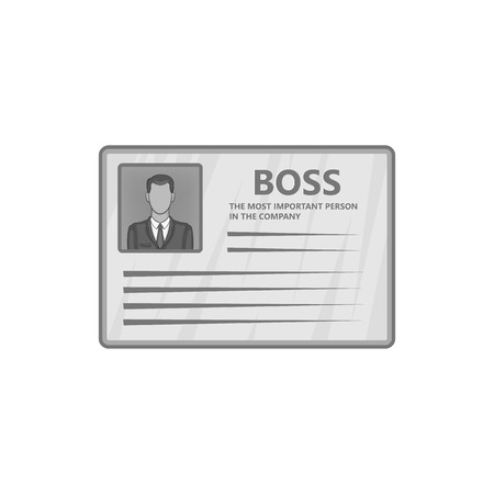 contact details: Card of boss icon in black monochrome style isolated on white background. Contact details symbol vector illustration