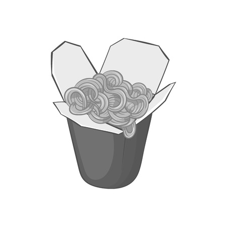 chinese food container: Box of noodles icon in black monochrome style isolated on white background. Food symbol vector illustration Illustration