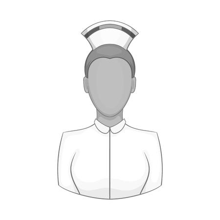 healer: Nurse icon in black monochrome style isolated on white background. Medicine symbol vector illustration Illustration