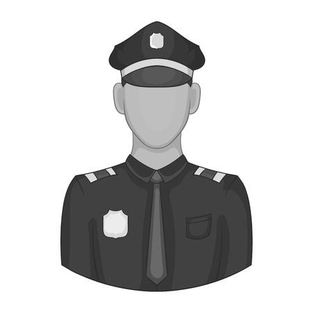 Icône de policier dans un style monochrome noir isolé sur fond blanc. Illustration vectorielle de travail symbole Vecteurs