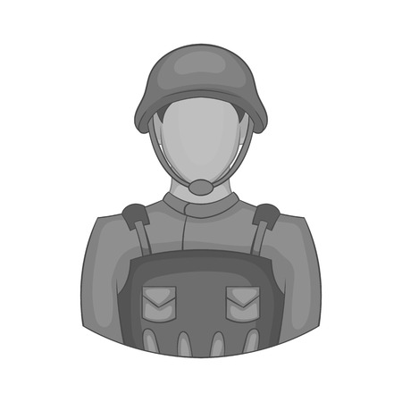 Soldier icon in black monochrome style isolated on white background. Military symbol vector illustration
