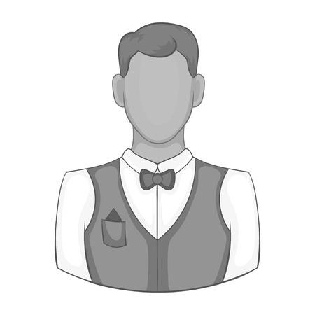 Waiter icon in black monochrome style isolated on white background. Job symbol vector illustration Illustration
