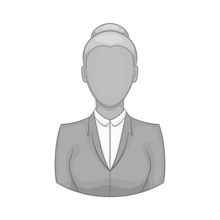 Businesswoman icon in black monochrome style isolated on white background. Job symbol vector illustration Illustration