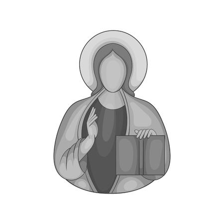 ictus: Jesus Christ icon in black monochrome style isolated on white background. Religion symbol vector illustration