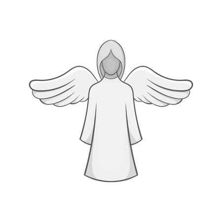 Angel icon in black monochrome style isolated on white background. Religion symbol vector illustration Illustration