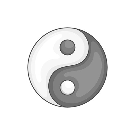 yang style: Yin Yang icon in black monochrome style isolated on white background. Religion symbol vector illustration