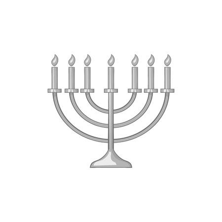 hannukah: Menorah icon in black monochrome style isolated on white background. Religion symbol vector illustration